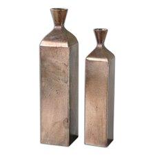 2 Piece Fizza Metal Vase Set