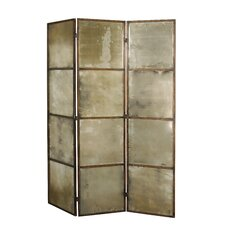Avidan Mirrored Room Divider in Heavily Antiqued Gold