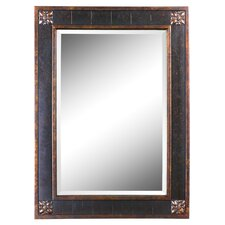 <strong>Uttermost</strong> Bergamo Rectangular Beveled Vanity Mirror in Chestnut Brown
