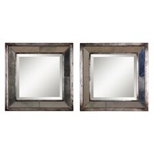 Davion Square Mirror Set in Antiqued Silver Leaf