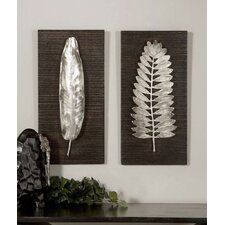Silver Leaves Wall Art by Billy Moon (Set of 2)