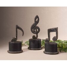 3 Piece Music Note Set in Aged Black