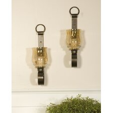 <strong>Uttermost</strong> Joselyn Iron and Glass Small Wall Sconces (Set of 2)