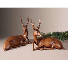 2 Piece Buck Statues Set