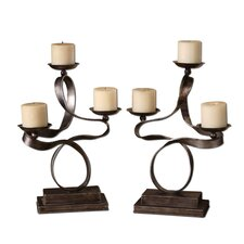 Hand Forged Metal Loop-D-Loop Candelabra (Set of 2)
