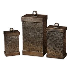Nera Box in Antiqued Silver Leaf (Set of 3)