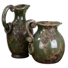 Hani Pitchers in Distressed Forest Green (Set of 2)