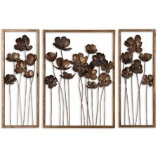3 Piece Metal Tulips in Antiqued Gold Leaf Mirror Set