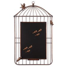 Bird Cage Chalkboard Wall Art in Antiqued Golden Bronze