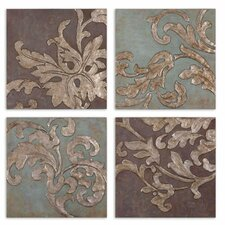 Damask Relief Blocks 4 Piece Original Painting on Plaque Set