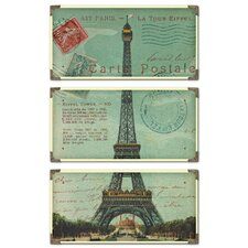 Eiffel Tower Cwall Postale 3 Piece Framed Vintage Advertisment Set