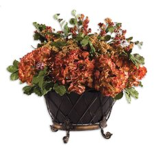 English Autumn Floral Bouquet Desk Top Plant in Pot