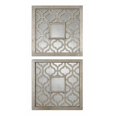 <strong>Uttermost</strong> Sorbolo Squares Mirror in Antique Silver Leaf (Set of 2)