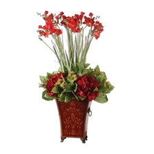 Red Freesia in English Tole Floor Plant in Decorative Vase
