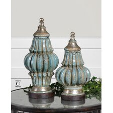 Fatima Two Piece Urn in Crackled Sky Blue