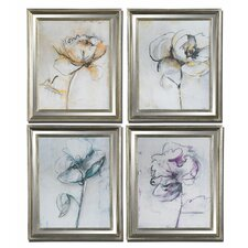 Jesters Floral 4 Piece Painting Print on Shadow Box Set