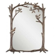 Perching Birds Small Mirror in Antiqued Silver Leaf