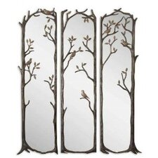 3 Piece Perching Birds Mirror in Antiqued Silver Leaf Set