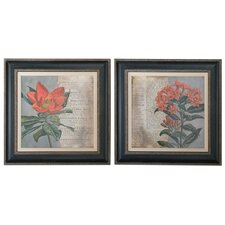 Vintage Fleur Rouge Floral 2 Piece Painting Print on Shadow Box Set