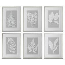 Moonlight Ferns 6 Piece Framed Painting Print Set