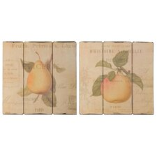 French Fruit 2 Piece Original Painting Plaque Set