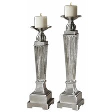 <strong>Uttermost</strong> 2 Piece Canino Mercury Glass Candlestick Set