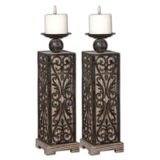 2 Piece Abelardo Wood Candlestick Set
