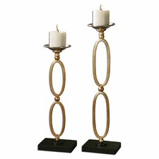 <strong>Uttermost</strong> 2 Piece Lauria Chain Link Candlestick Set