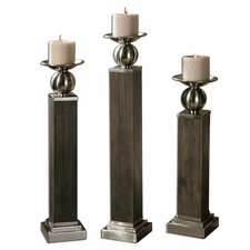 3 Piece Hestia Wood Candlestick Set