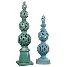 2 Piece Berilo Ceramic Finial Set