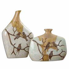 2 Piece Pajaro Ceramic Vase Set