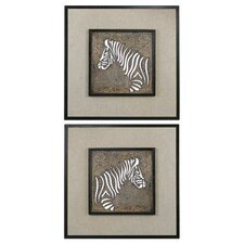 Zebra Squares by Carolyn Kinder 2 Piece Graphic Art Plaque Set