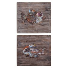 2 Piece Fresh Fish Metal Wall Art Set