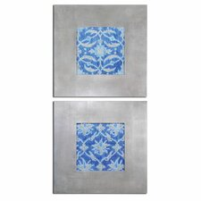 2 Piece Royal Ikat Floral Art Set