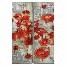 Scarlet Poppies Floral by Constance Lael-Linyard 2 Piece Original Painting on Canvas Set