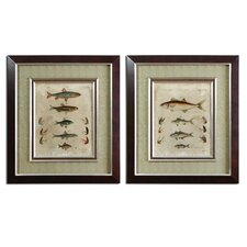 Pisces Composition by Grace Feyock 2 Piece Framed Original Painting Set