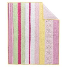 Girls Stripes Cotton Rod Pocket Curtain Single Panel