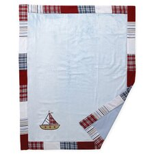 <strong>Bacati</strong> Boys Stripes and Plaids Soft Velour Blanket with Embroidery