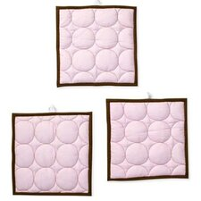 Quilted Circles Three Piece Wall Hangings in Pink and Chocolate