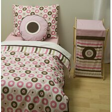 <strong>Bacati</strong> Mod Dots and Stripes Pink and Chocolate Toddler Bedding Collection