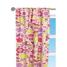 Botanical Purple Floral Cotton Rod Pocket Curtain Single Panel