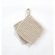 Knitted Pot Holders in Offwhite (Set of 2)