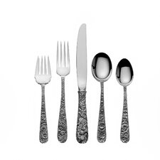 Sterling Silver Repousse 46 Piece Dinner Flatware Set