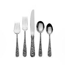 Sterling Silver Repousse 46 Piece Flatware Set