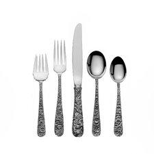 Sterling Silver Repousse 66 Piece Dinner Flatware Set