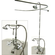 Vintage Volume Control Tub and Shower Faucets with Porcelain Cross Handles
