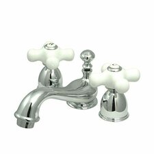 <strong>Elements of Design</strong> Mini Widespread Bathroom Faucet with Double Porcelain Cross Handles