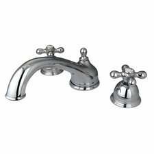 <strong>Elements of Design</strong> Double Handle Deck Mount Roman Tub Faucet Trim Metal Cross Handle