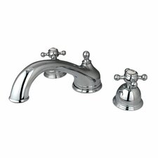 <strong>Elements of Design</strong> Double Handle Deck Mount Roman Tub Faucet Trim Buckingham Cross Handle