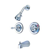 <strong>Elements of Design</strong> Heritage Pressure Balanced Volume Control Tub and Shower Faucet with Twin Metal Lever Handles